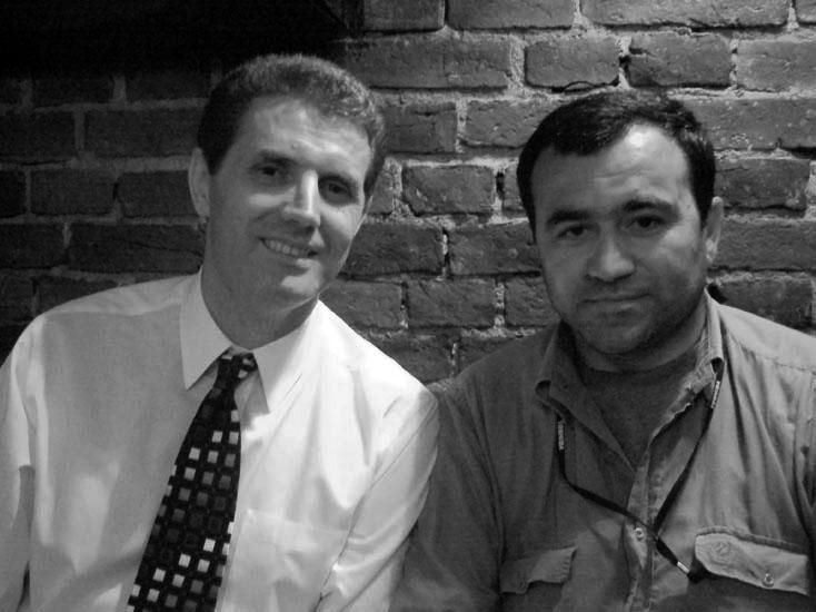 Marinaj with fellow journalist Arben Çokaj - Kosova 2008.jpg